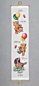 Klokkestreng til pige med bamser og balloner